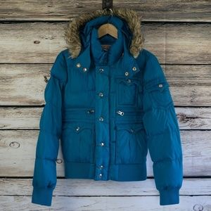 True Religion Down Puffer Parka Hooded Jacket